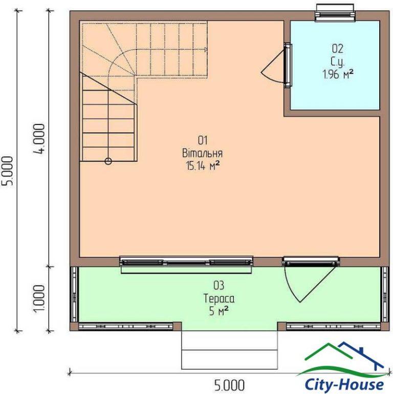 план первого этажа каркасной дачи из СИП панелей C1631 Бершадь