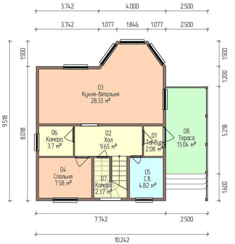 план первого этажа каркасного дома из SIP панелей C1714 Херсон