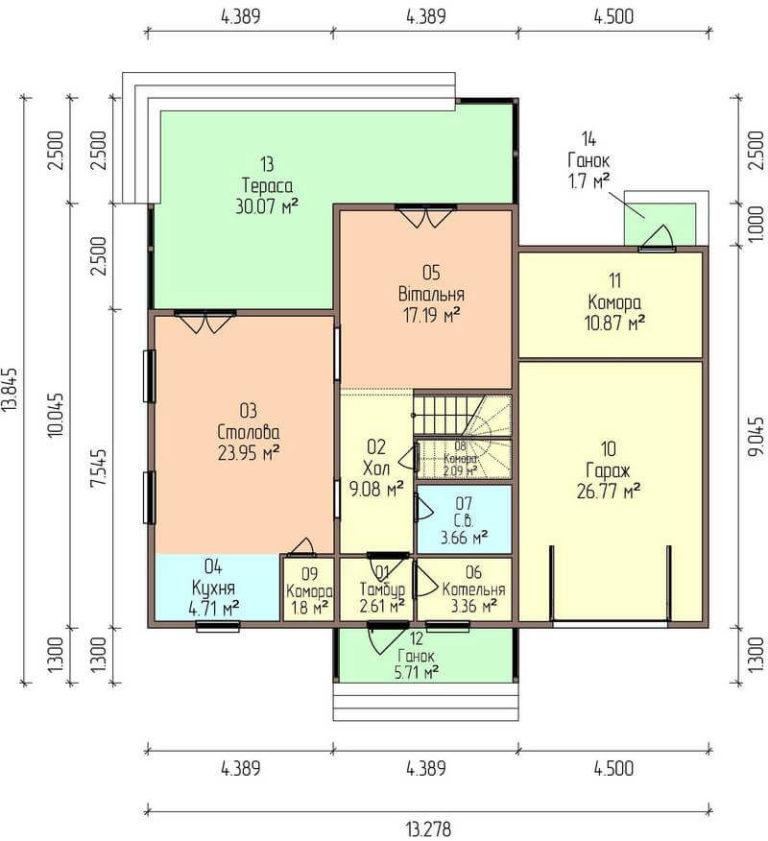 план первого этажа канадского дома C1720 Черноморск