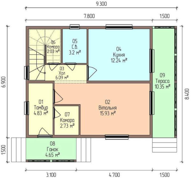 план первого этажа экономичного дома C1727 Оратов