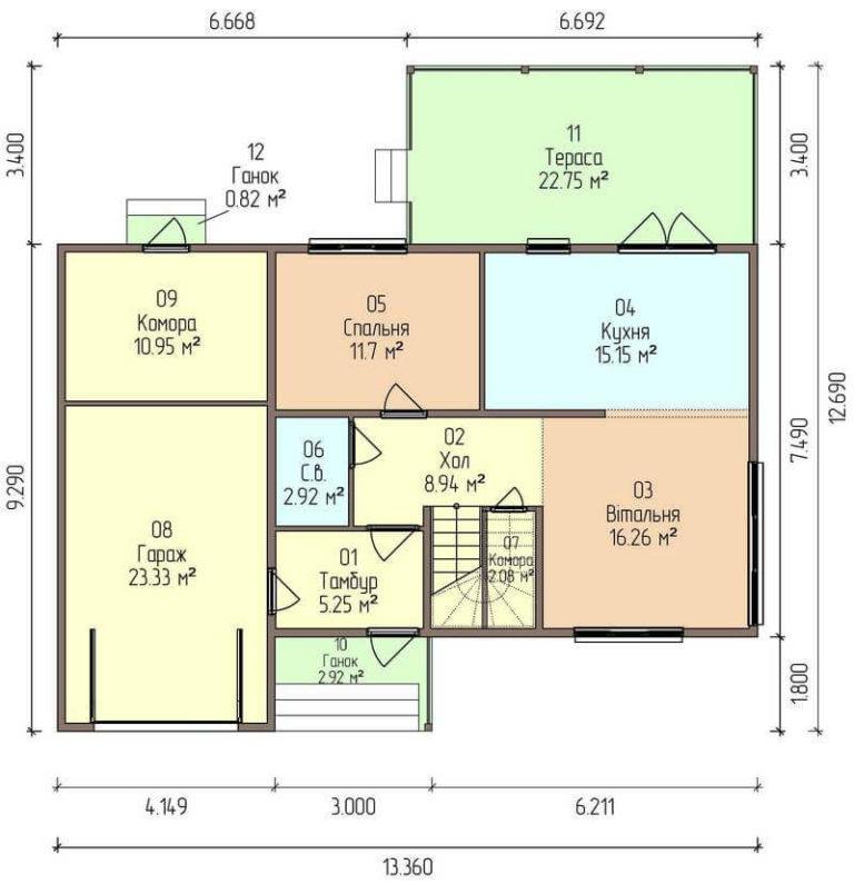 план первого канадского дома в стиле хай тек C1729 Теплик