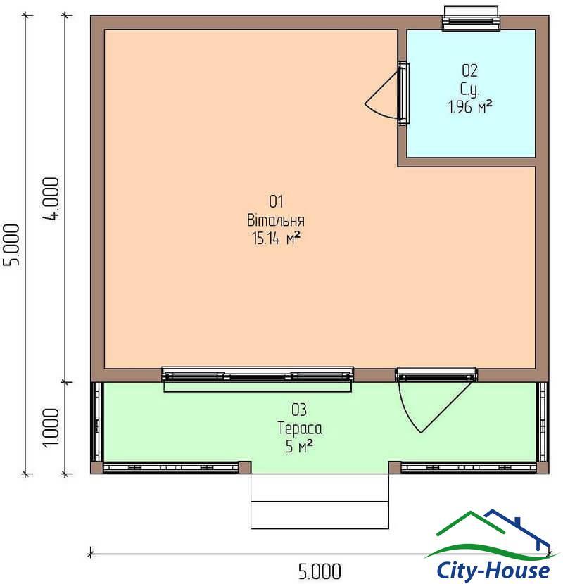 план этажа каркасной дачи из СИП панелей C1632 Ямполь