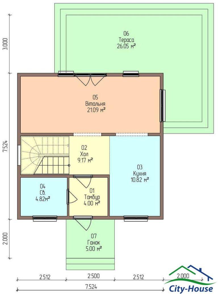 план первого этажа каркасного дома из СИП панелей C1707 Умань