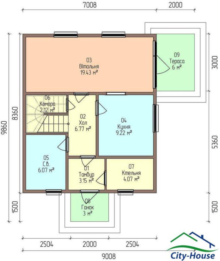 план первого этажа каркасного дома из СИП панелей C1709 Фастов
