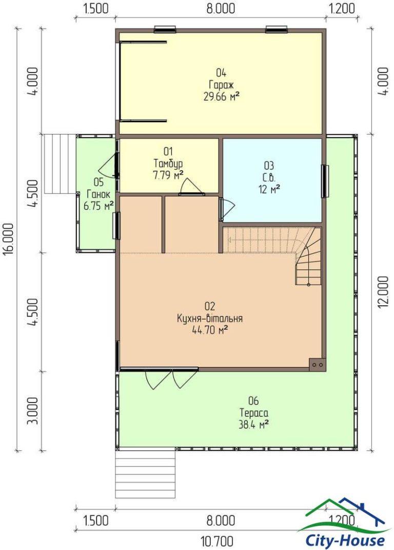 план первого этажа каркасного дома из СИП панелей C1620 Бердичев