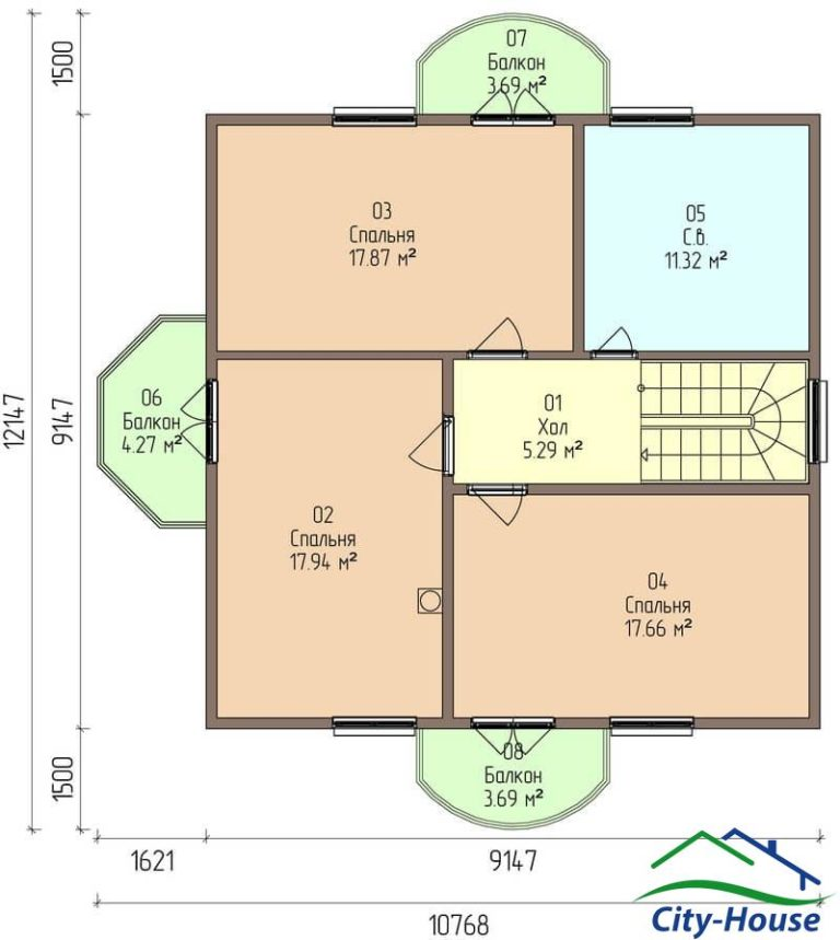 план второго этажа каркасного дома из СИП панелей C1616 Могилев-Подольский