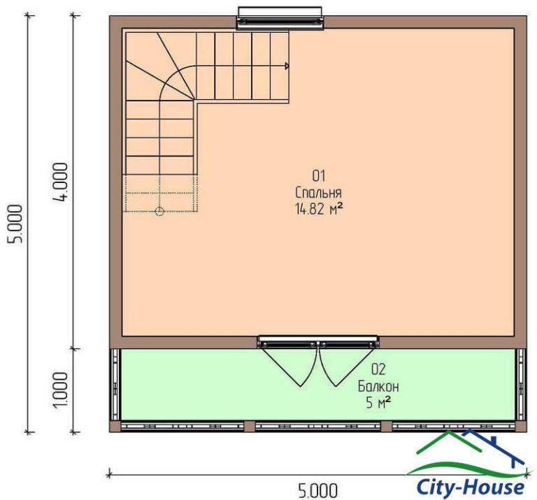план второго этажа каркасной дачи из СИП панелей C1631 Бершадь