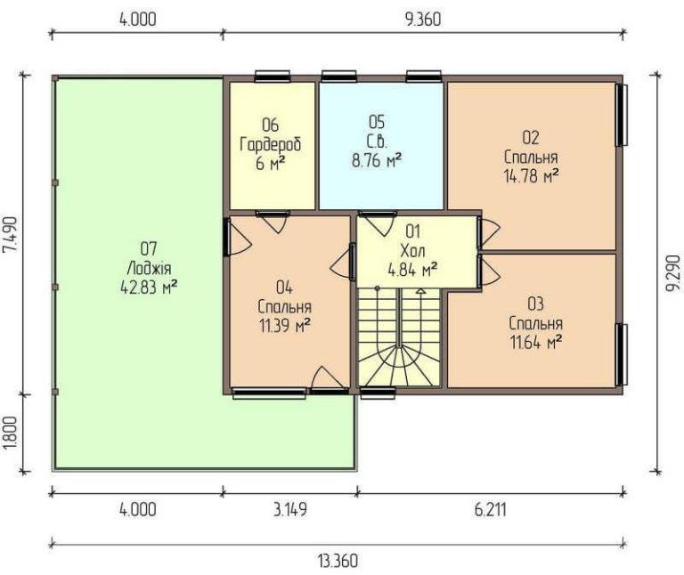 план второго канадского дома в стиле хай тек C1729 Теплик
