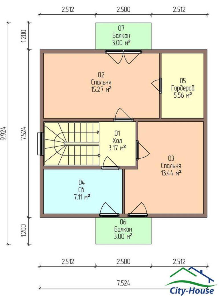 план второго этажа каркасного дома из СИП панелей C1707 Умань
