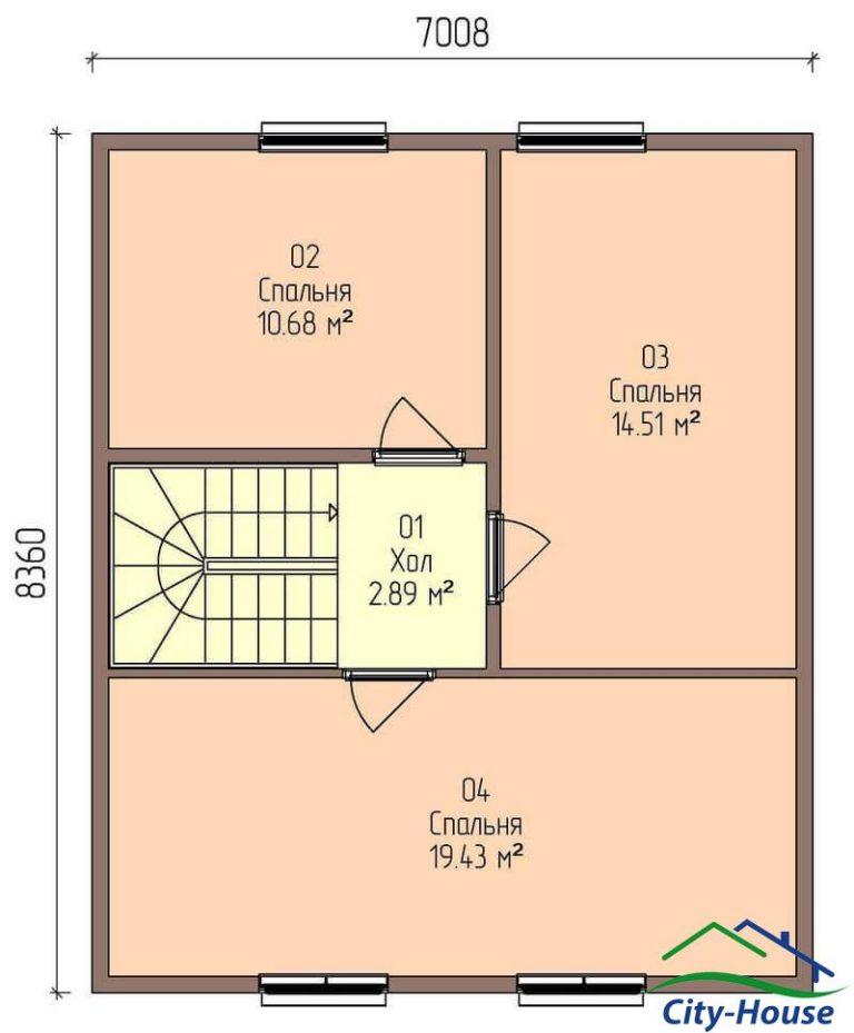 план второго этажа каркасного дома из СИП панелей C1709 Фастов