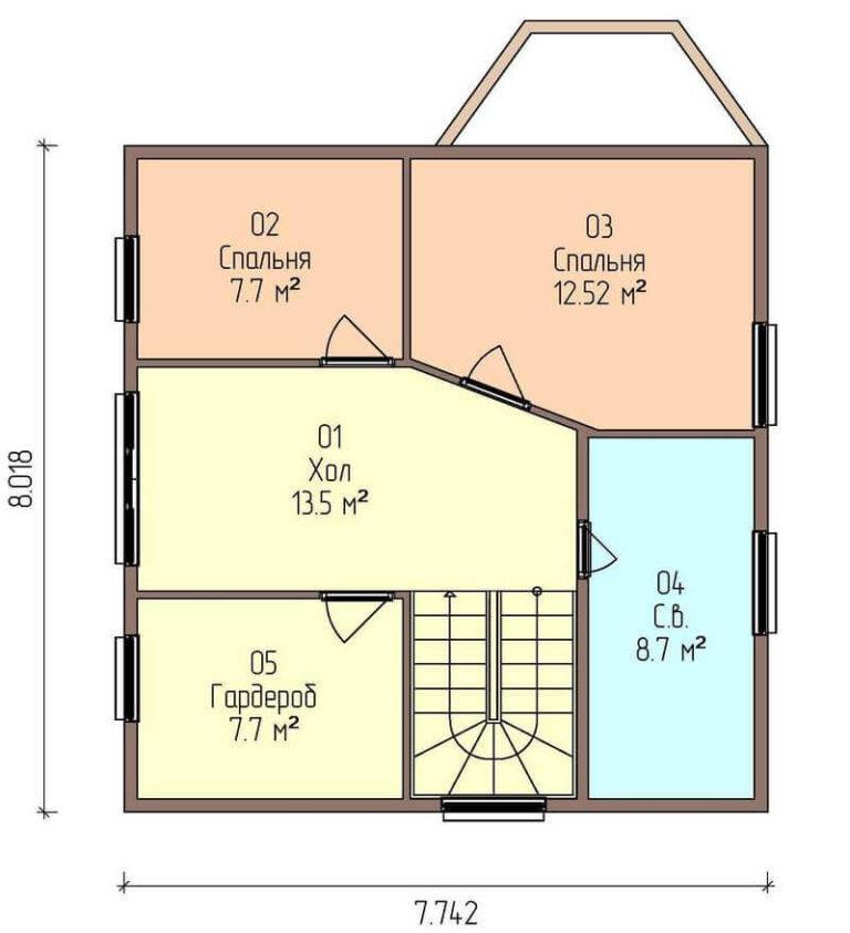 план второго этажа каркасного дома из SIP панелей C1714 Херсон