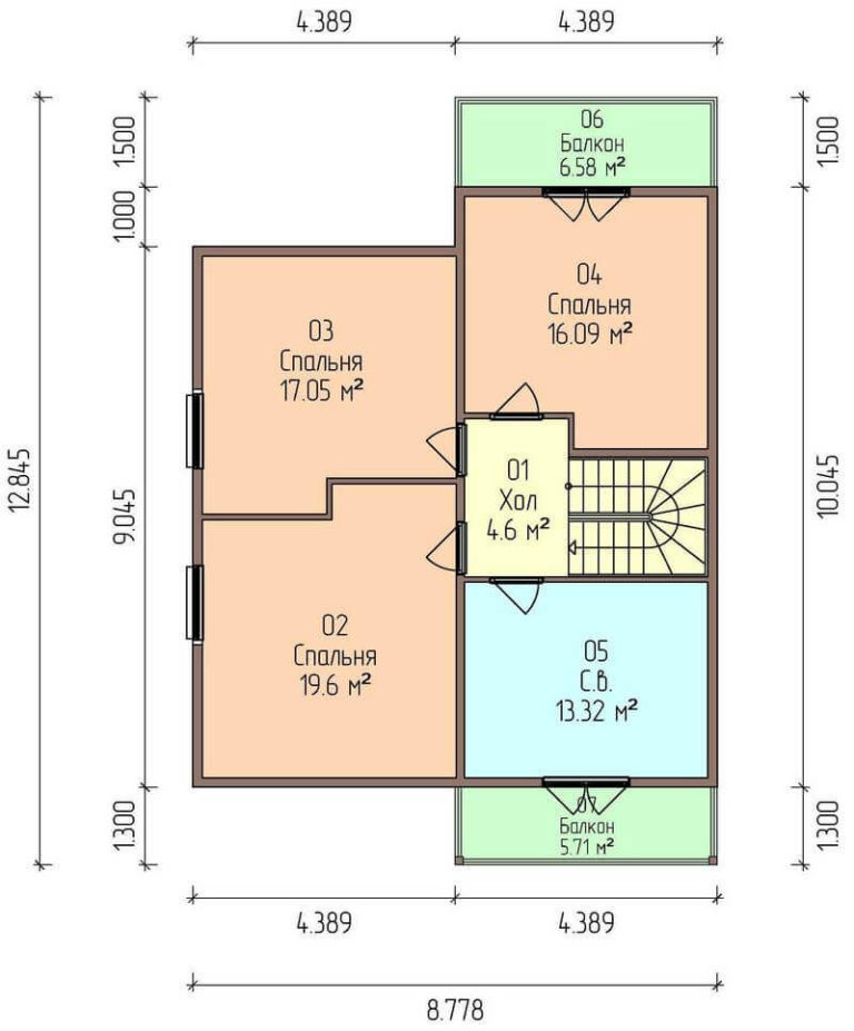 план второго этажа канадского дома C1720 Черноморск