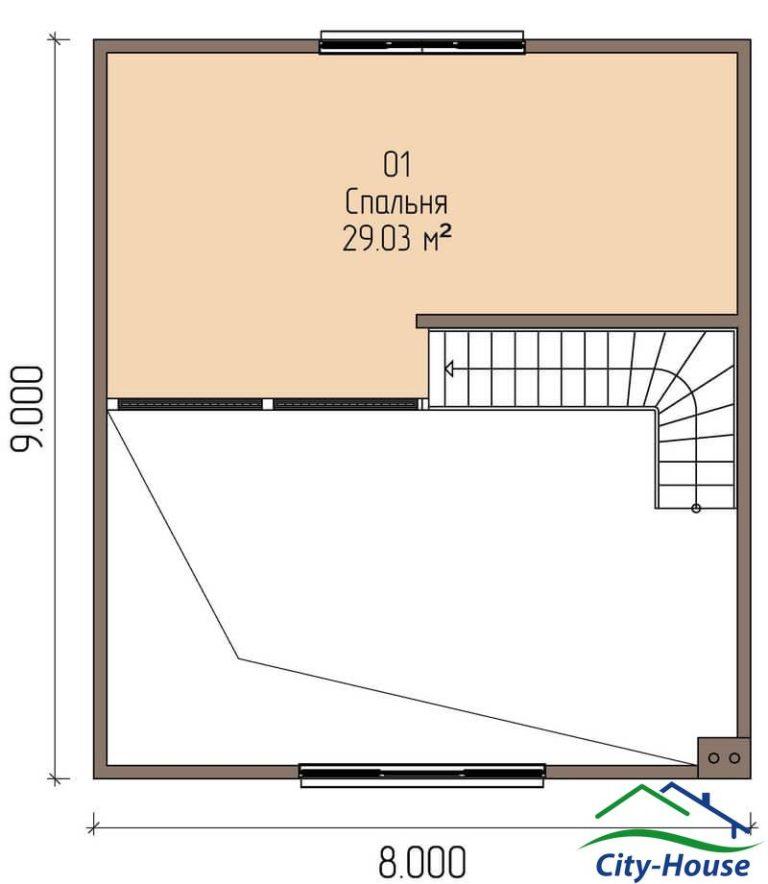 план второго этажа каркасного дома из СИП панелей C1620 Бердичев