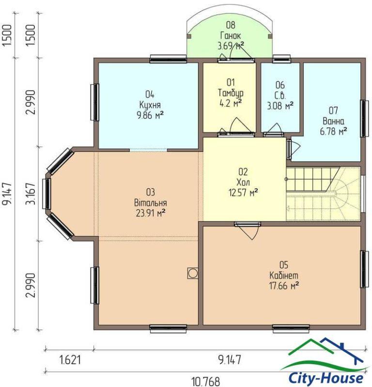 план первого этажа каркасного дома из СИП панелей C1616 Могилев-Подольский