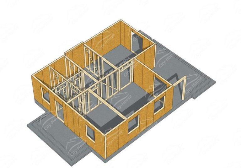 Первый этаж домокомплекта каркасного дома из СИП панелей по проекту для сборки