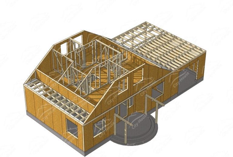 Второй этаж домокомплекта каркасного дома из СИП панелей по проекту для сборки