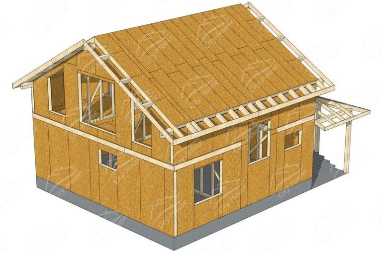 Конструкция домокомплекта энергосберегающего дома из СИП панелей по проекту для сборки