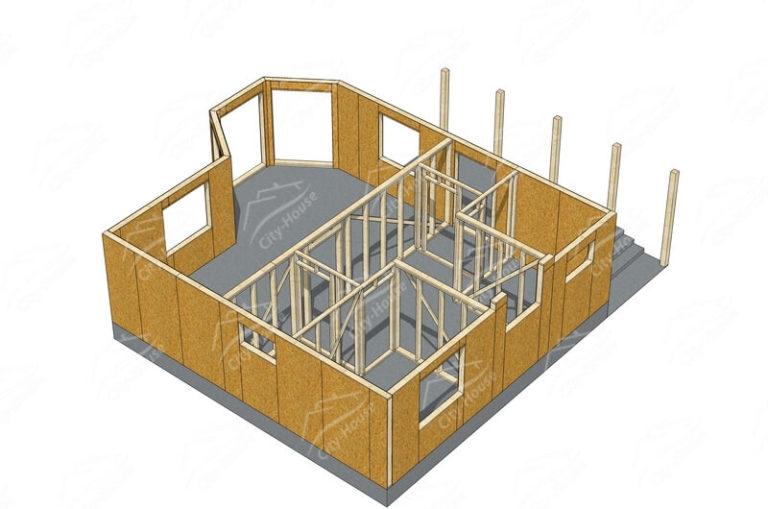 Первый этаж домокомплекта энергосберегающего дома из СИП панелей по проекту для сборки