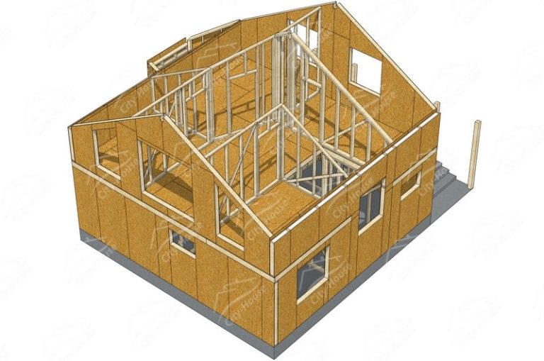 Второй этаж домокомплекта энергосберегающего дома из СИП панелей по проекту для сборки