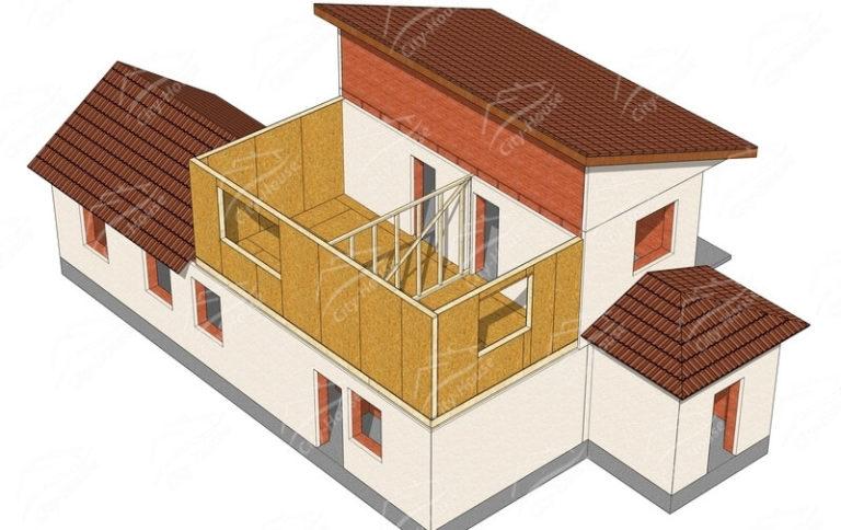 План этажа надстройки дома из СИП панелей по проекту для сборки