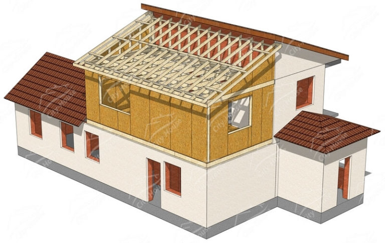 Конструкция домокомплекта надстройка из СИП панелей по проекту для сборки