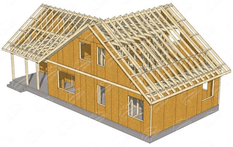 Конструкция домокомплекта каркасного дома из СИП панелей по проекту для монтажа
