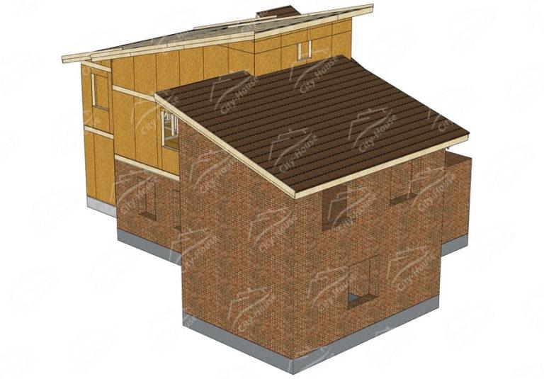 Конструкция домокомплекта каркасной достройки из СИП панелей по проекту для сборки
