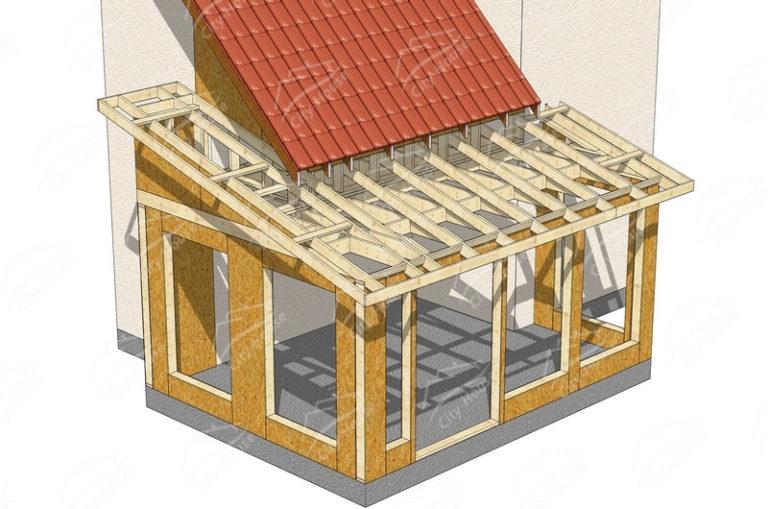 Конструкция домокомплекта зимнего сада из СИП панелей по проекту для сборки