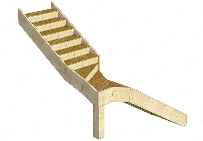 Конструкция лестницы из СИП панелей по проекту для монтажа