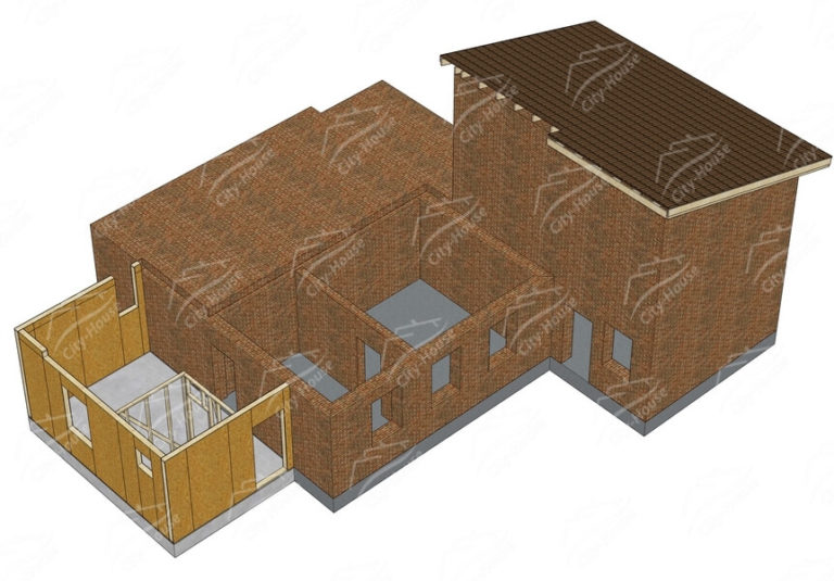 Первый этаж домокомплекта каркасной достройки из СИП панелей по проекту для сборки