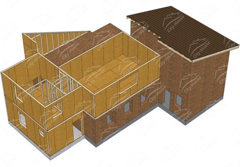Второй этаж домокомплекта каркасной достройки из СИП панелей по проекту для сборки