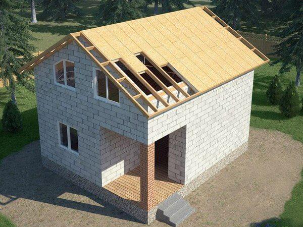 Теплая крыша из СИП панелей для дома из газобетона