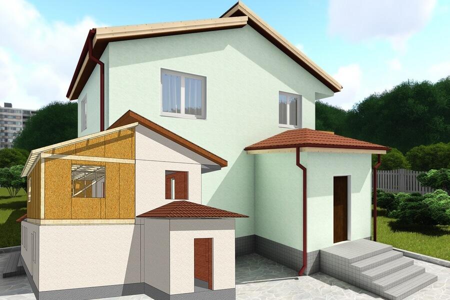 Реконструкция частного дома, надстройка из СИП панелей в Виннице