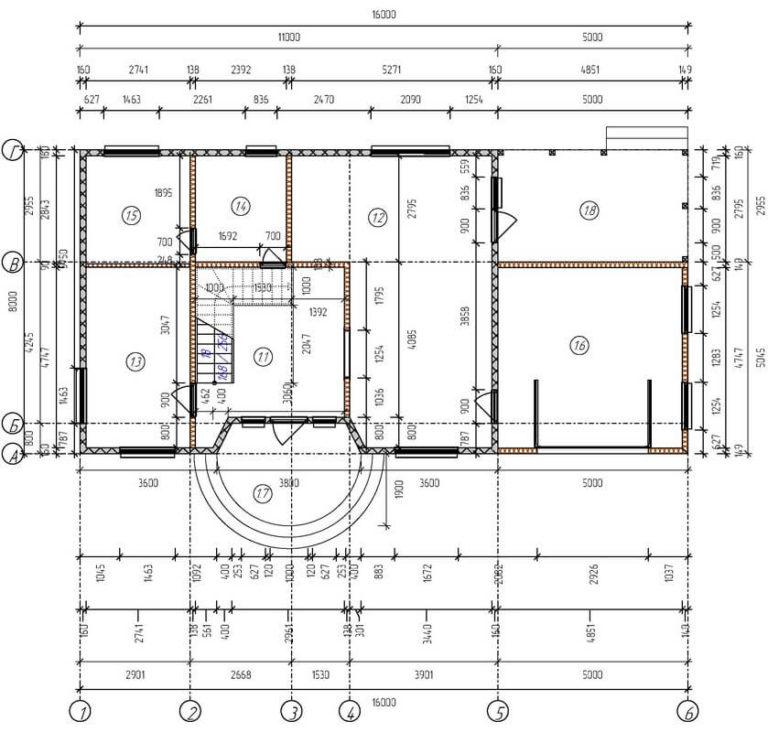 План 1 этажа дома из СИП панелей