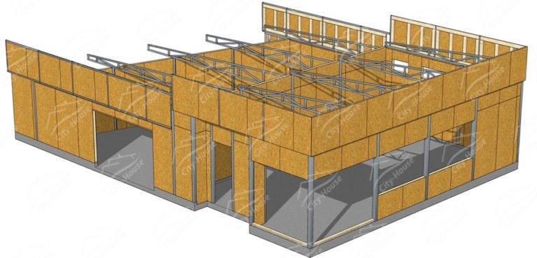 Конструкция домокомплекта офисного здания из СИП панелей по проекту для монтажа