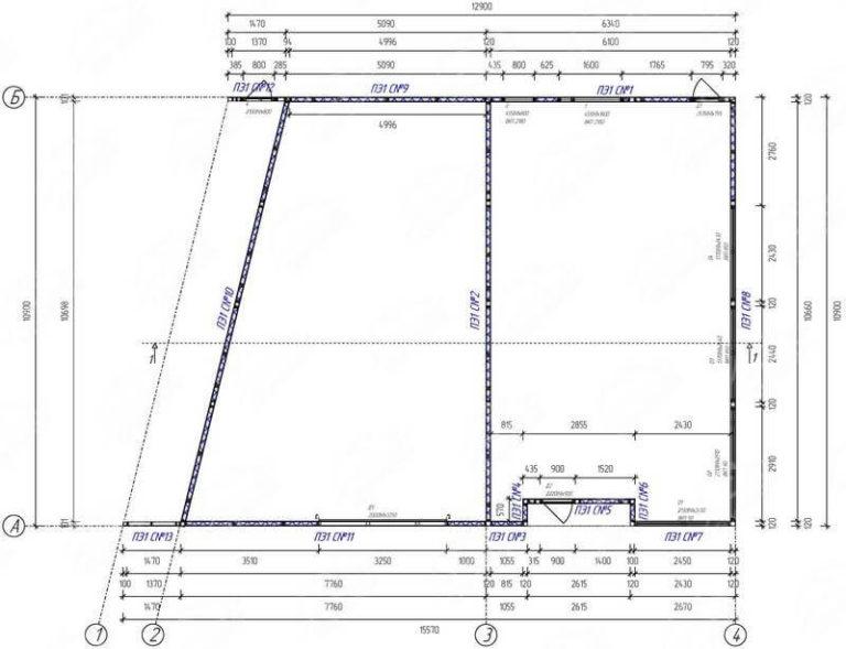 План офисного здания из СИП панелей и металлокаркаса