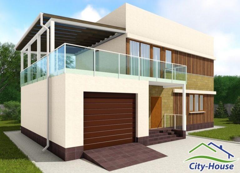 Архитектурная визуализация каркасного дома хай тек