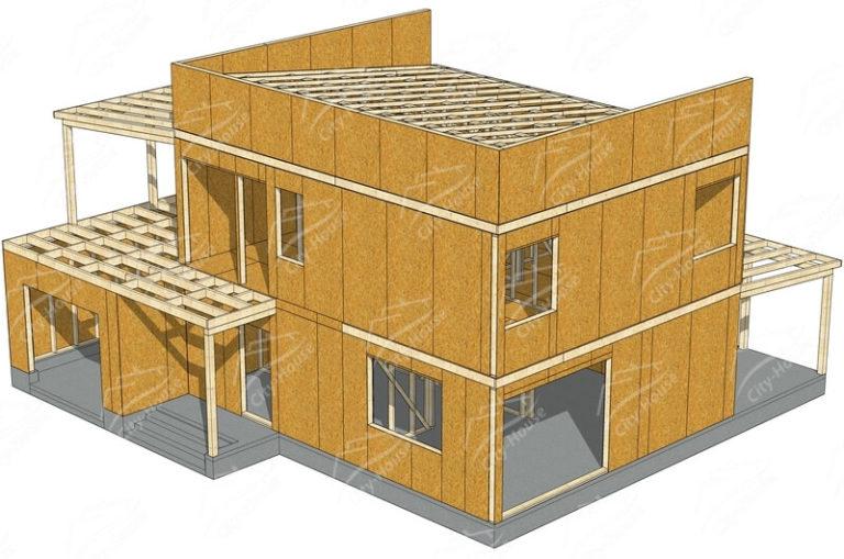 Домокомплект каркасного дома хай тек в 3D
