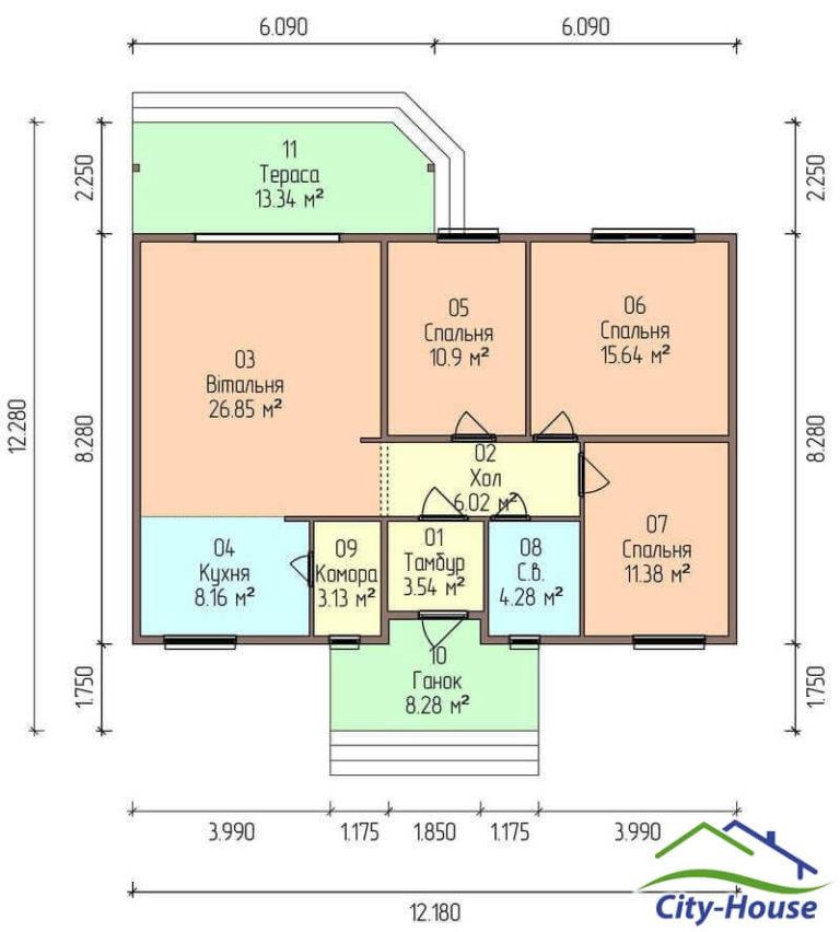 план этажа каркасного дома из СИП панелей C1742 Мурованые Куриловцы