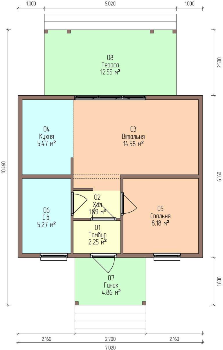план этажа каркасного дома из СИП панелей C1759 Володарка