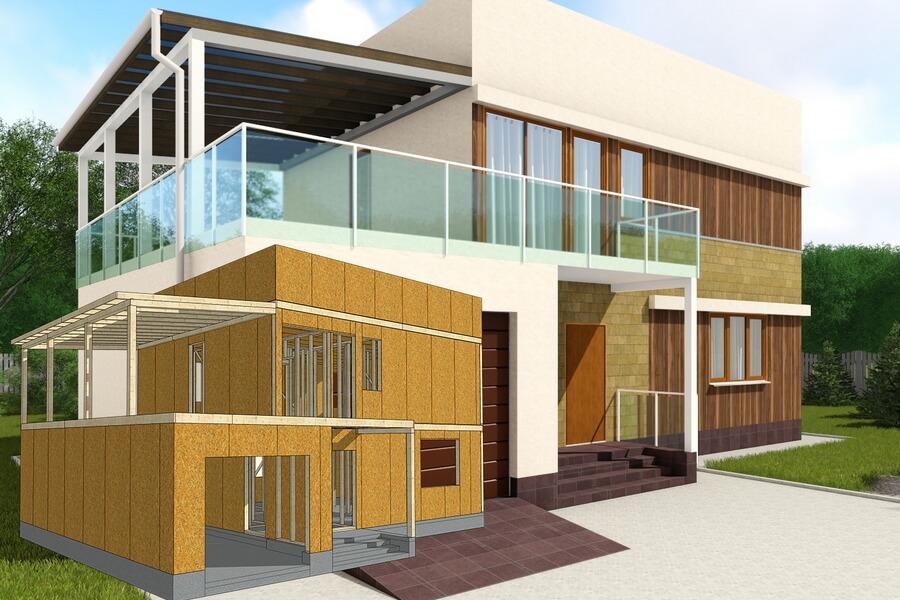 Современный каркасный дом хай тек в Винницкой области