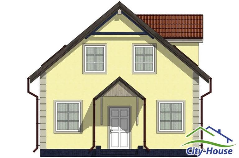 Фасад 1 каркасного дома из СИП панелей C1506 Львов