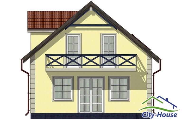 Фасад 2 каркасного дома из СИП панелей C1506 Львов