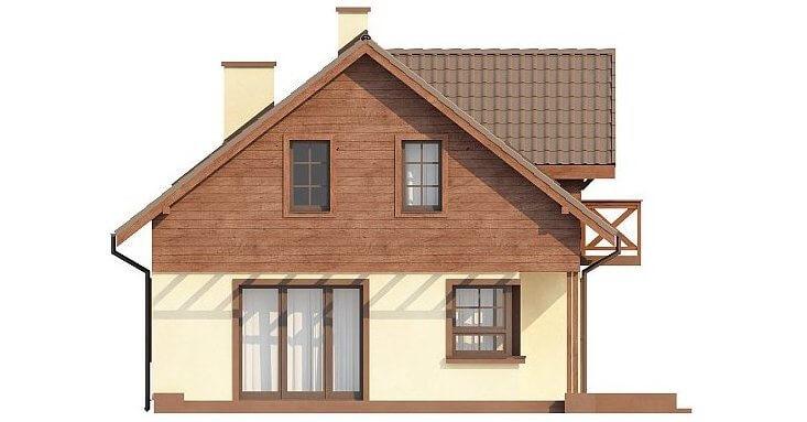 Вид 3 каркасного дома из СИП панелей в скандинавском стиле