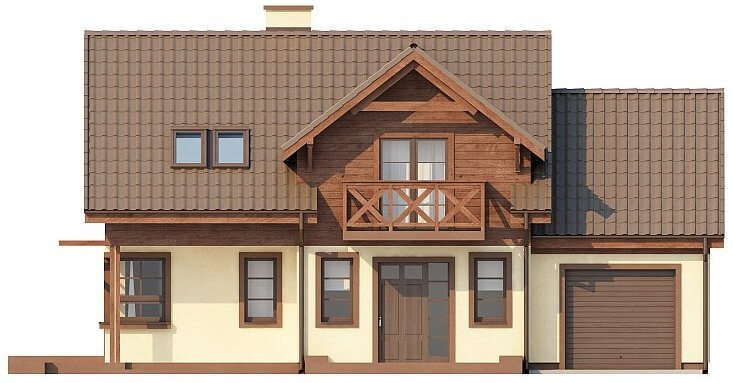 Вид каркасного дома из СИП панелей в скандинавском стиле