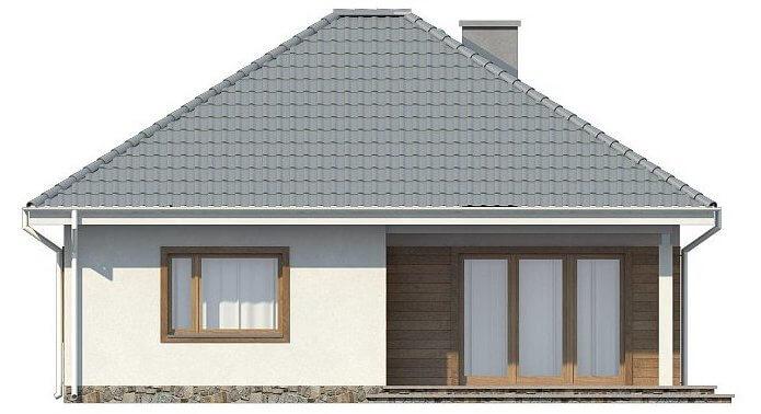 Фасад компактного одноэтажного дома из СИП панелей C1745 Васильков