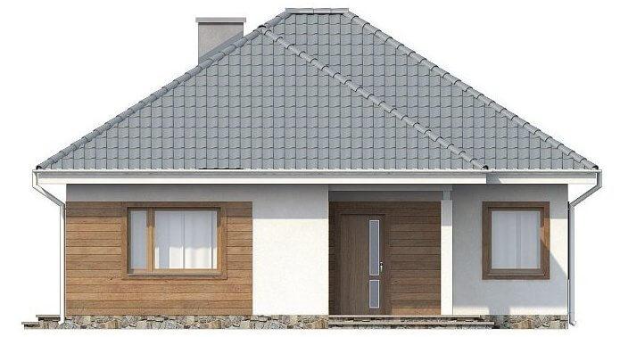 Фасад компактного одноэтажного дома из СИП панелей C1745 Васильков 2