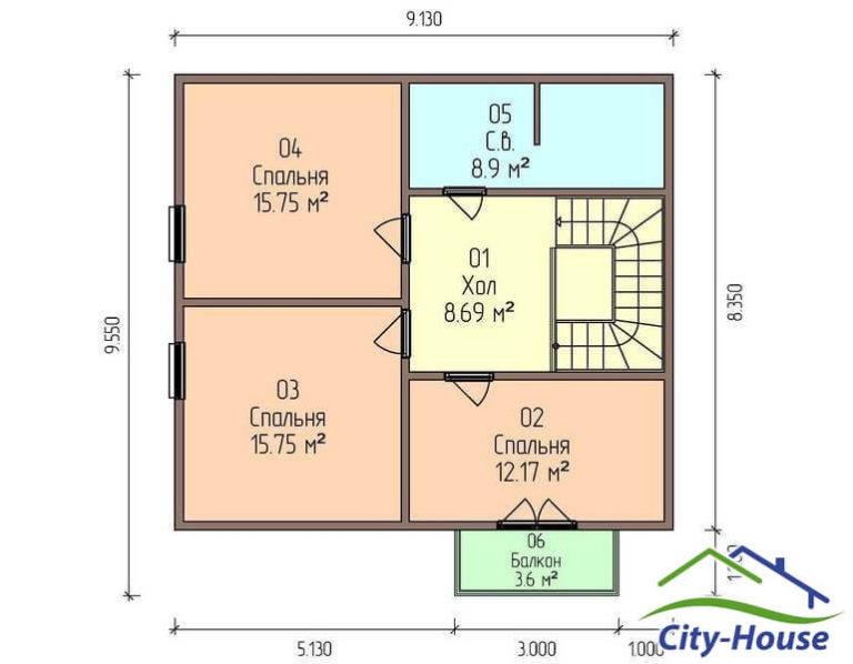 План второго этажа дома из СИП панелей с гаражом C1749 Вышгород