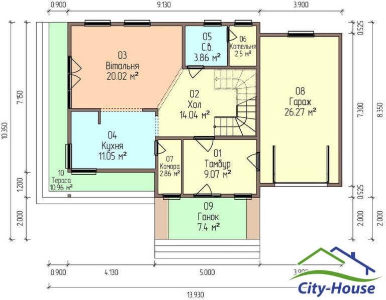 План первого этажа дома из СИП панелей с гаражом C1749 Вышгород