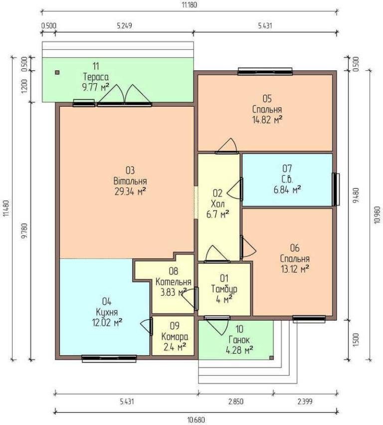 План этажа компактного одноэтажного дома из СИП панелей C1745 Васильков